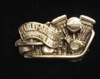 vintage harley davidson pin thundering steel 1992 made in usa