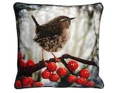 XL Cushion cover for throw pillow with bird - Winter Wren - 24x24inch // 60x60cm