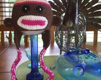 Crochet Baby Girl Brown and Pink Sock Monkey Hat