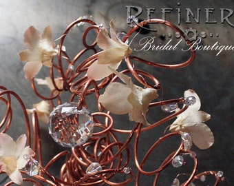 Wire Bridal Bouquet: Copper Tendrils with Flowers and Large Crystal Balls