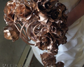 Gold Wedding Bouquet: Gilded Roses in Cascading Arrangement of Gold, Silver, Copper or Black.