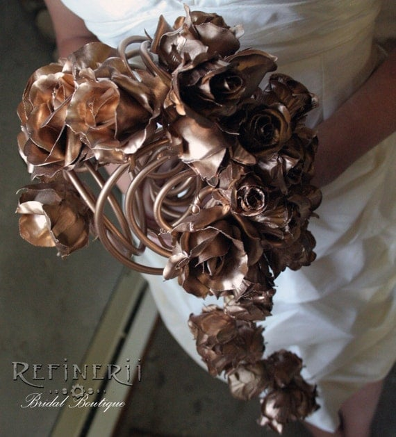 Gold Wedding Bouquet Gilded Roses In Cascading Arrangement Of