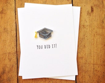 quilled grad cap card // you did it // graduation // highschool // collage // university // kindergarten // made in Canada