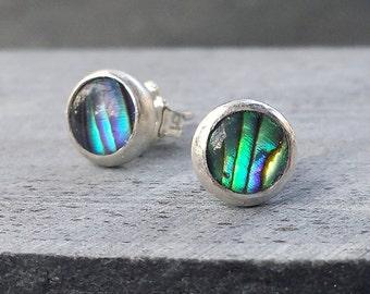 Paua Shell Earrings, Abalone Shell Posts, Silver Bezel Set Stud Earrings