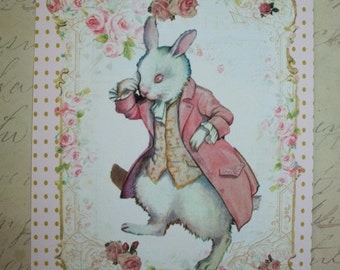 WHITE RABBIT - Shabby Chic - Elegant - Chic - Notecards - scrolls, shabby chic, Sweet Gift Tags - RTC 6656654