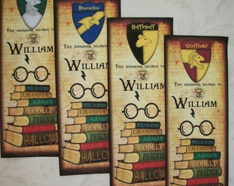 HARRY POTTER - Bookmarks - House Crests - Slytherin, Hufflepuff, Gryffindor, Ravenclaw - Set of 4 Bookmarks - stocking stuffers - HP 765
