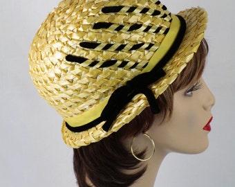 1960s Yellow Straw Short Brim Derby Hat w/ Black Velvet Accents Sz 21 1/2