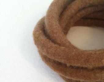 Brown Felted Bracelet / Felted Bangles / Chunky Felted Cuff / Modern Bracelet / Fiber Art / Yoga / Twisted Felt Collection - Sand