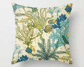 Outdoor Pillow Cover Beachy Pillow Blue Pillow Coral Pillow Nautical Pillow