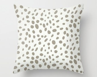 Spotted Pillow Cover Ecru Pillow Nautical Pillow Coastal Pillow 8 Sizes Available Cushion Cover