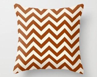Chevron Pillow Cover Rust Pillow Decorative Pillow Size Choice Couch Pillow Accent Pillow Throw Pillow