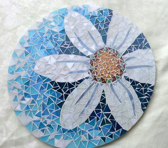 Mosaic Lazy Susan Daisy On Shades Of Aqua And Blue By