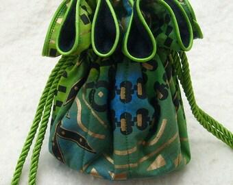 Anti Tarnish Mod Batik Jewelry Bag Pouch with lime green: anti tarnish jewelry bags