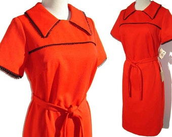 Vintage Red Dress Mod 70s Polyester NOS w/ Tags M / L