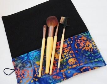 Makeup Brush Roll, Cosmetic Brush Roll in Blue Batik
