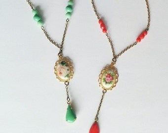 Floral Necklace with Vintage Cabochon - Rose Necklace - Limited Edition - Vintage Inspired Jewelry - Fiona Necklace (SD0991)