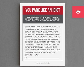 "Printable Funny Parking Notes Stocking Stuffer. For Man, Woman, Him, Her, Friend. Gag Cheap Gift. Under 10. ""Park Like A Jerk"" (PN018)"