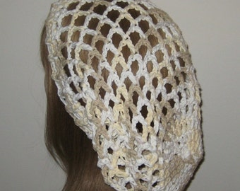 Cotton Mesh Slouchy Beanie Dread Crochet Hat in Tan, White and Pale Yellow
