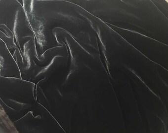 SMOKE GRAY Silk Velvet Fabric - 1 Yard