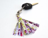 Designer Cotton Preppy Pink and Green Paisley  Fabric Tassel Key Chain Handmade by Me Not Leather