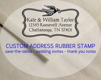 Custom Address Rubber Stamp - Love letter Bird - Wedding, Save the Dates - by Blossom Stamps