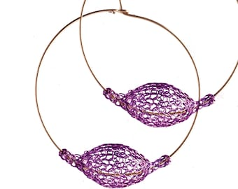 PURPLE extra large hoop earrings, BOHO jewelry, Unique hoop earrings, Statement Earrings, Wire crochet jewellery- Gypsy bohemian fashion