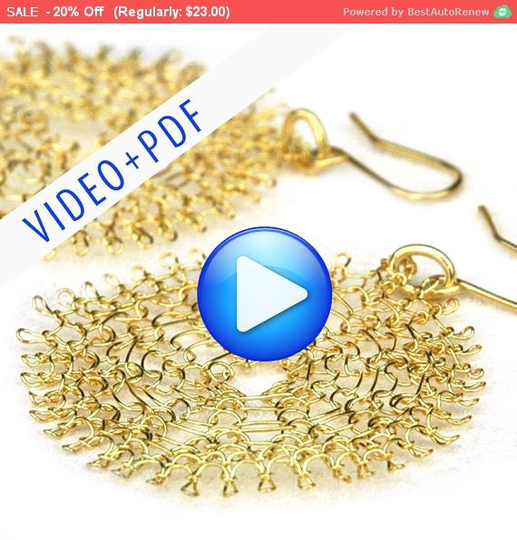Wire Jewelry Crochet Pattern of YoolaFlower, ONLINE  VIDEO pattern and a PDF file