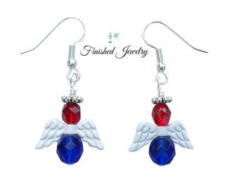 Patriotic Guardian Angel Earrings