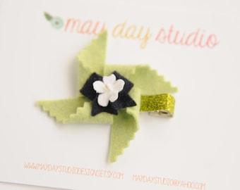 baby toddler girls felt pinwheel alligator hair clip - green pinwheel with navy bow barrette - green glitter clip