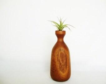 vintage carved wood vase signed george biersdorf mid century style black walnut