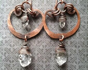 Herkimer Diamond Dangle Earrings Wire Wrap Crystal Earrings Copper Drop Earrings Rustic Jewelry Daniellerosebean Earrings Cyber Monday