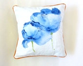 Poppy Watercolor Pillow, Blue and White, Poppies Flower, White, One of a Kind, Orange Piping, Floral Pillow, Throw Pillows, Mini Pillow