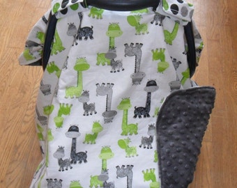 Giraffe and Gray Minky Dot Car Seat Carseat Canopy Cover MINKY COLOR CHOICE