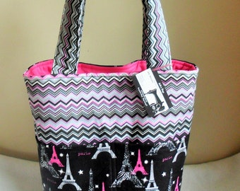 Large Paris and Eiffel Tower Tote Bag Purse