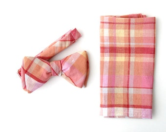 mens peach plaid freestyle bow tie & pocket square