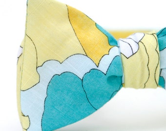 aqua, baby, blue, & yellow floral freestyle bow tie