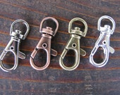 20  Swivel Clips Hooks Lobster Claw Hangers Key Chains Purse Charms Clasps Antique Silver Plated Brass Copper