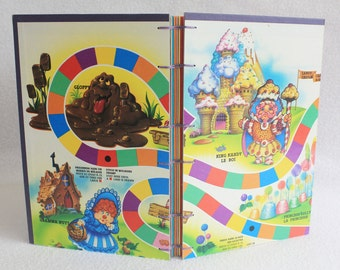 Candy Land Journal Recycled Game Board Book Upcycled Vintage Gameboard by PrairiePeasant
