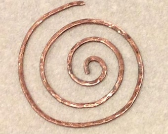 Spiral Shawl Pin in Patinaed Copper