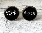 Mens Monogram Cufflinks, Personalized Cuff Links for Groom, Custom Wedding Date, Groom Gift, Wedding Cufflinks, Silver or Brass