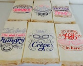 Embroidered Kitchen Sayings  Huck Towel Set of 6 0ff-white towels with Cotton Lace trim