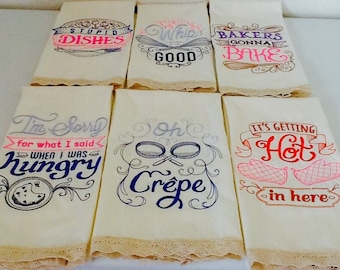 Embroidered Kitchen Towels with Sayings,  Huck Towel Set of 6 0ff-white towels with Cotton Lace trim