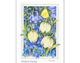 Spring Flowers Botanical Illustration Print by Valerie Greeley
