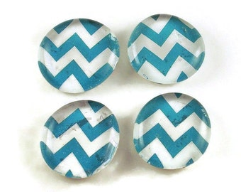 Funky Refrigerator Magnets Glass Marble Magnets in  Turquoise Chevron  (M53)