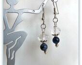 Sodalite Earrings,  Gemstones and Rock Crystals,  Surgical Steel Earwires,  Dangle Earrings, Blue Earrings, Jewelry Accessories,   #1086