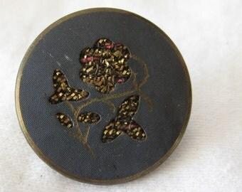 ANTIQUE Cut Work & Foil Thread Flower Metal BUTTON