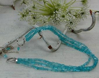 Triple Strand Apatite Necklace Argentium Sterling Silver Chain