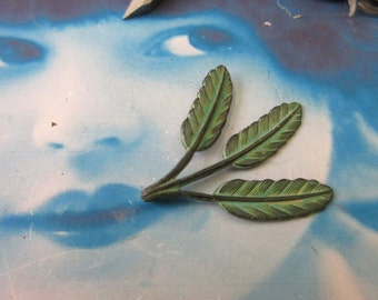 Hand Aged Verdigris Patina Leaf Stampings 2011VER x2
