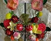 Lilygrace Fabulous Cornucopia Flower and Fruit Big Earrings with Brass Discs