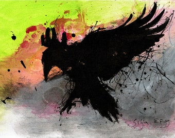Ink abstract painting on canvas A4 - flying raven colorful